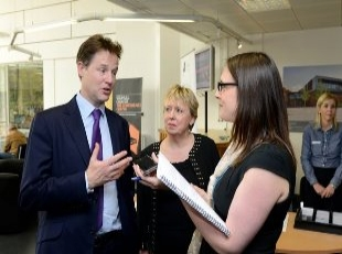 Nick Clegg with Lorely Burt, Press interview