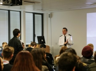 Martin Ward-White, West Midlands Fire Service speaks to students