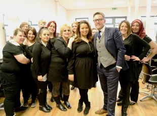 Hairdressing students with Optima's Pete Murtha