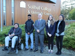 John Callaghan, Principal of Solihull College with students