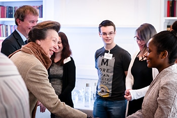 Princess Anne meeting the students