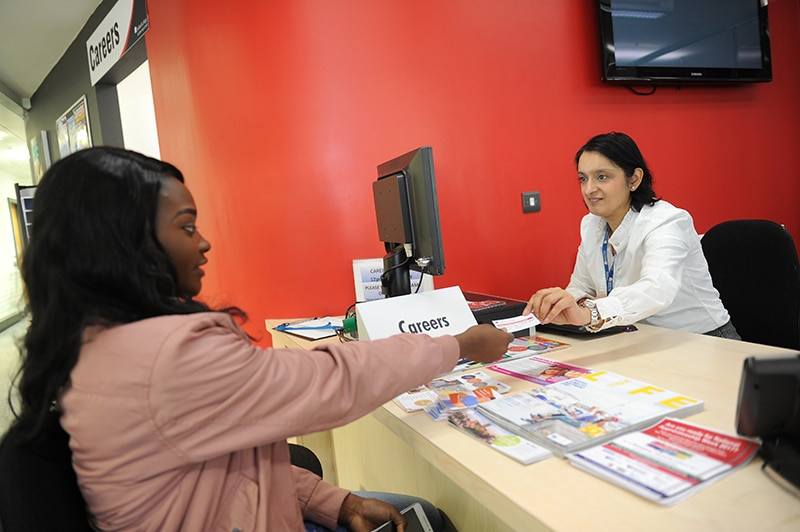student at careers desk