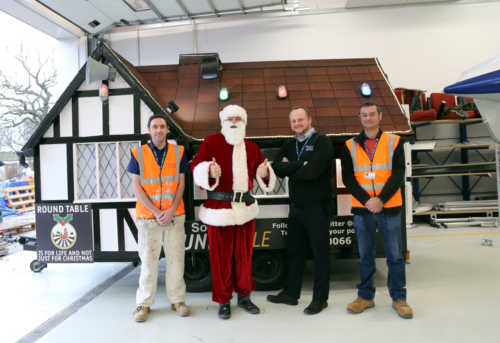 Santa & construction staff