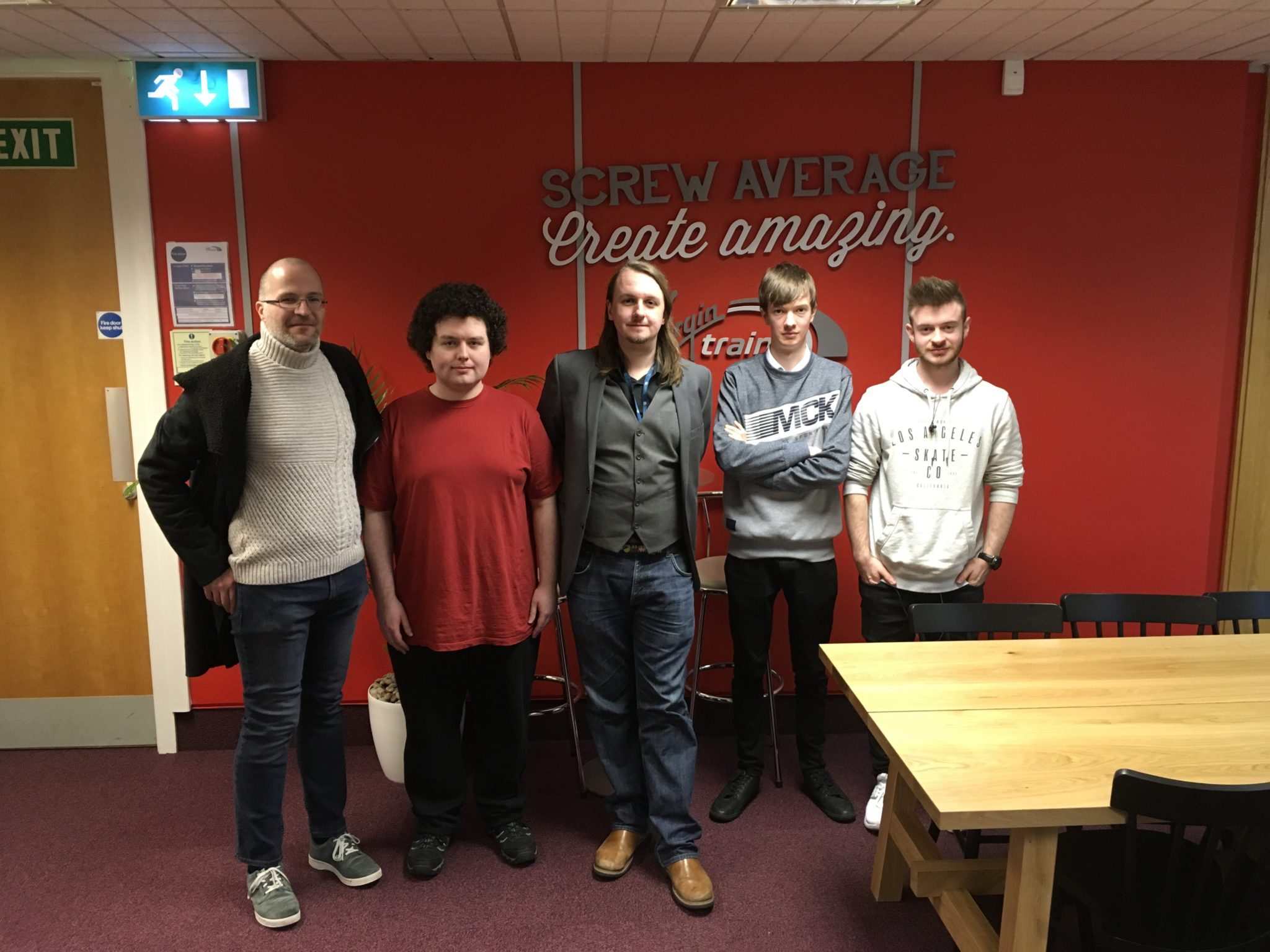 Students and Simon Hunt at the Virgin Training Centre