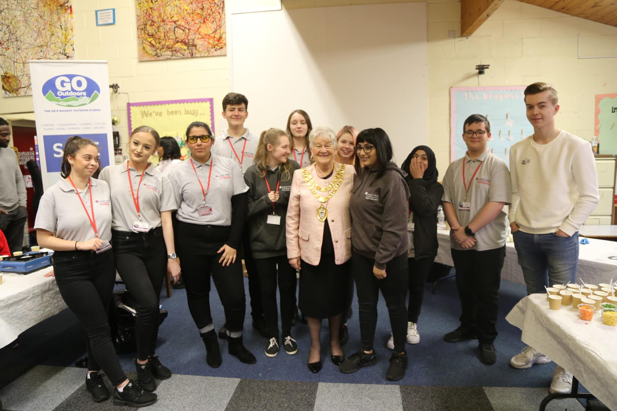 Students with the Mayor of Solihull