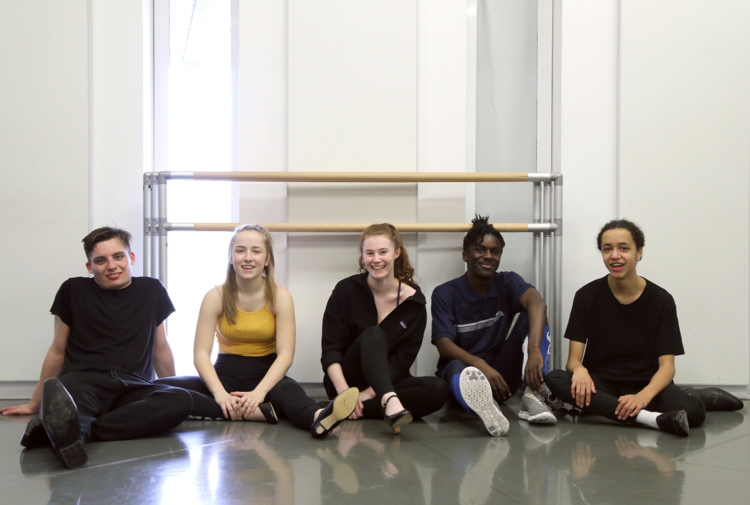 Students sat in dance studio