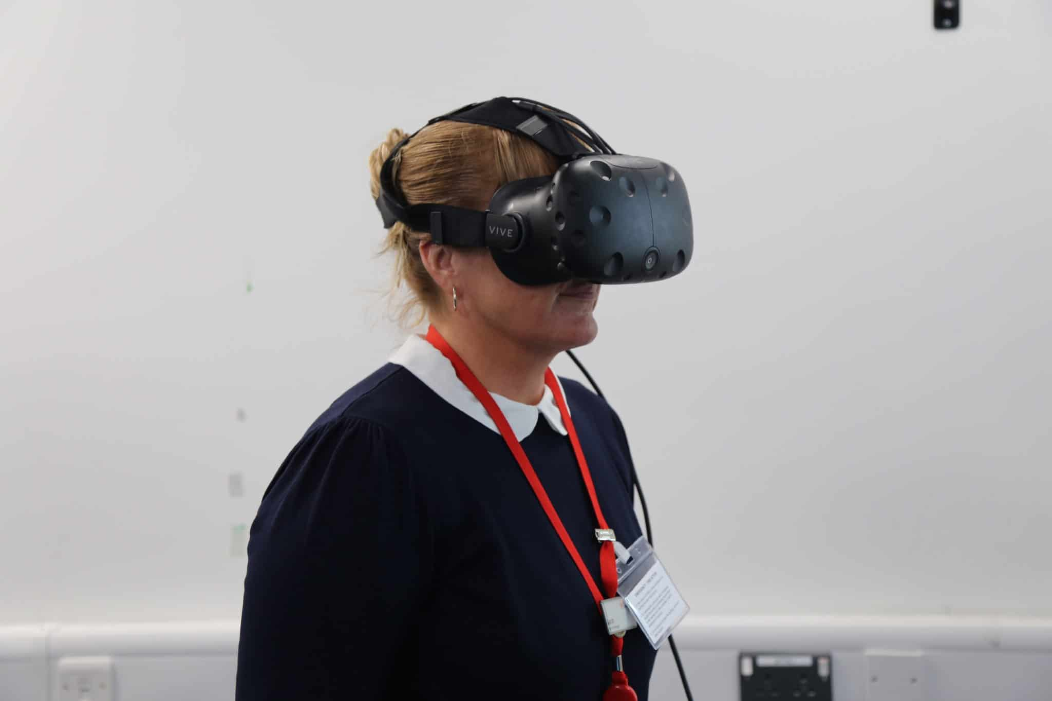 On Board Manager wearing virtual headset