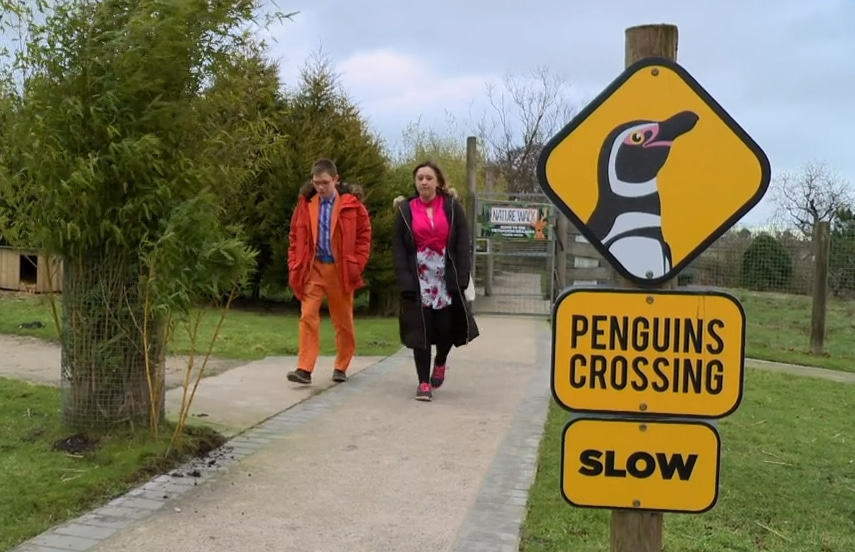 Alex and Rebecca walk in the Wildlife Park