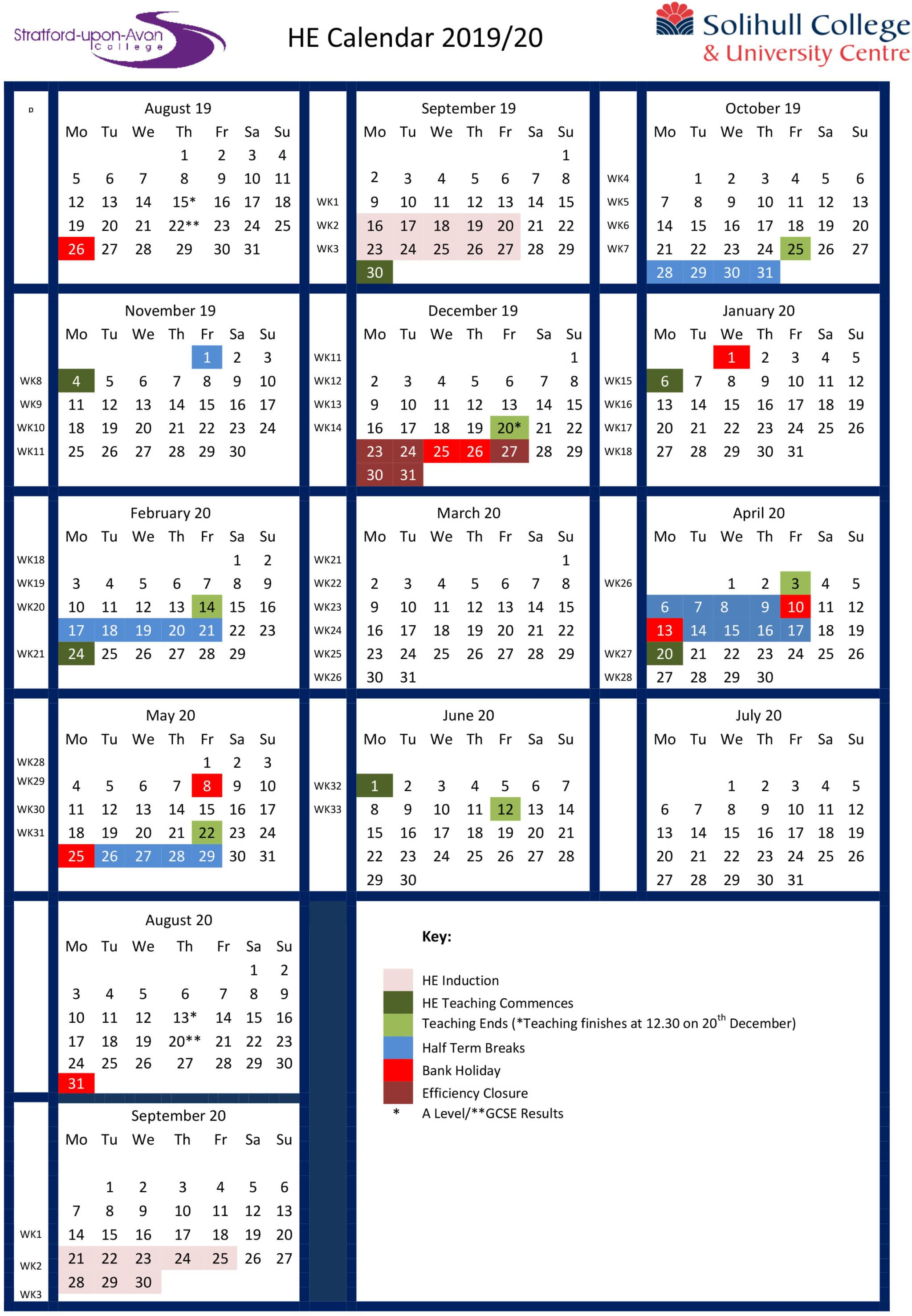 Higher Education (University Level) Calendar 2019 - 2020