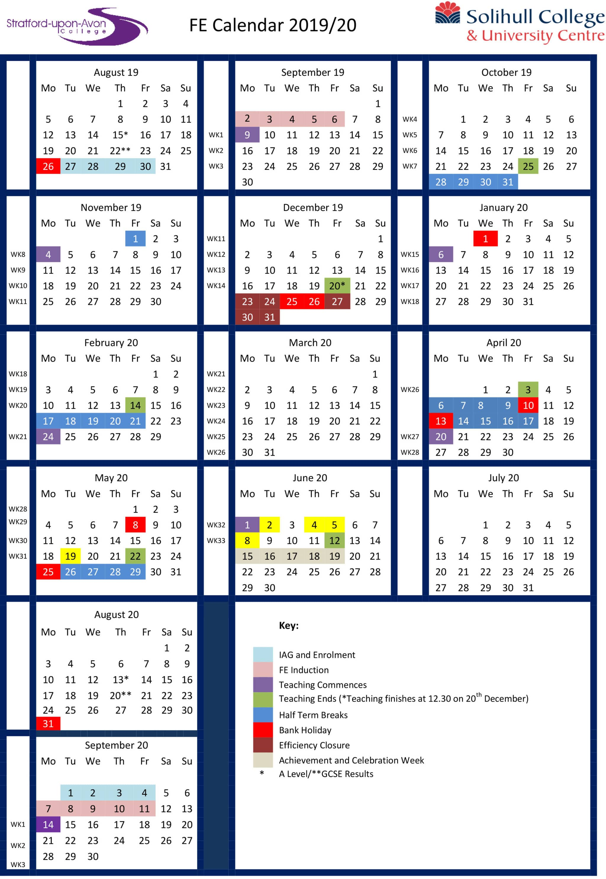Further Education Student Calendar 2019 - 2020