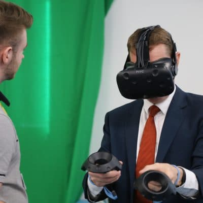 Student demonstrates VR to Andy Street