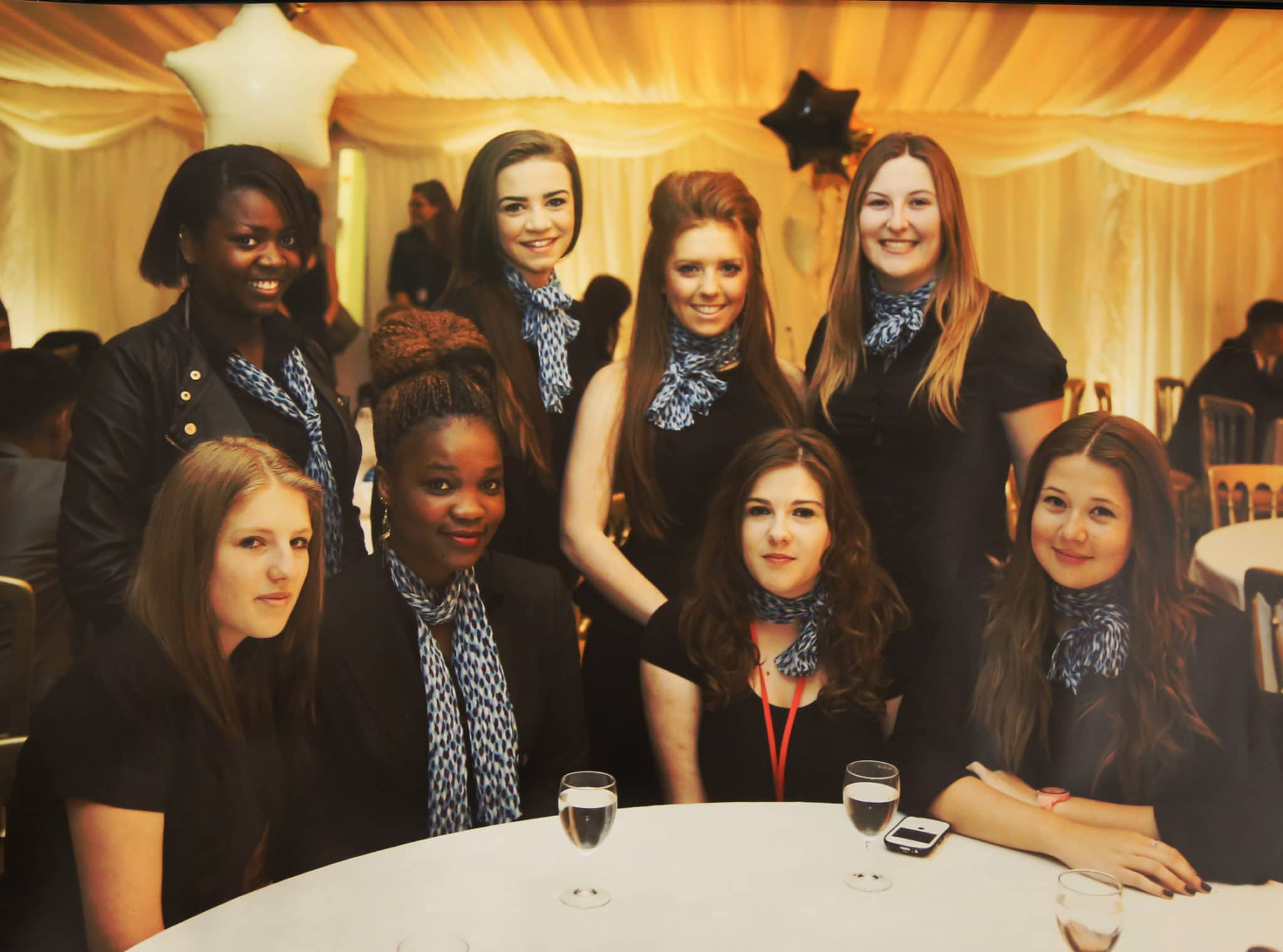 Lizzie (centre back row) with fellow students at the College.