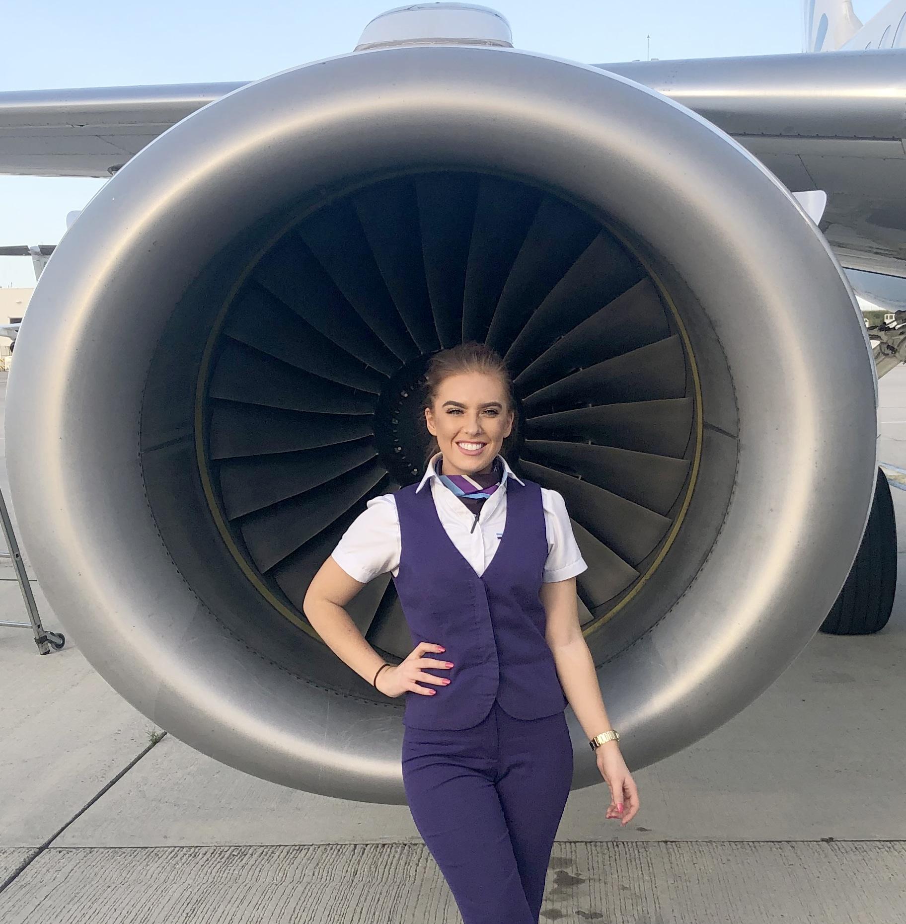 air stewardess up close