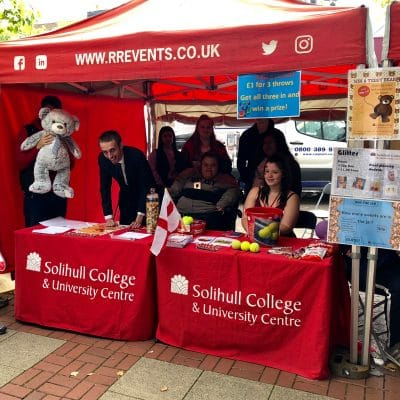 solihull college students at a stall