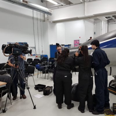 Aerospace students being filmed by ITV