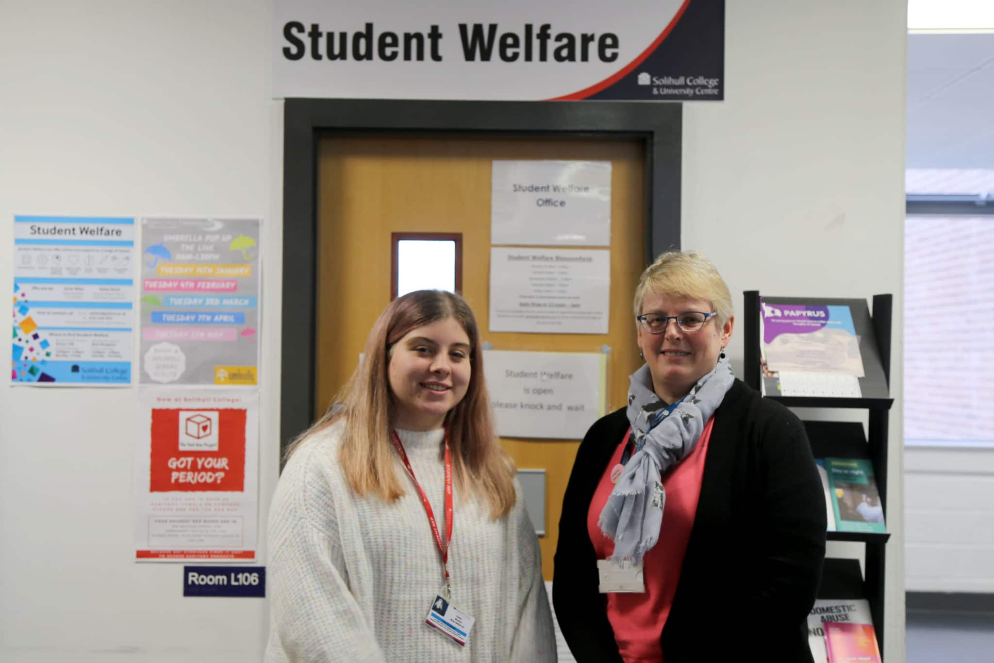 Katie with a member of staff