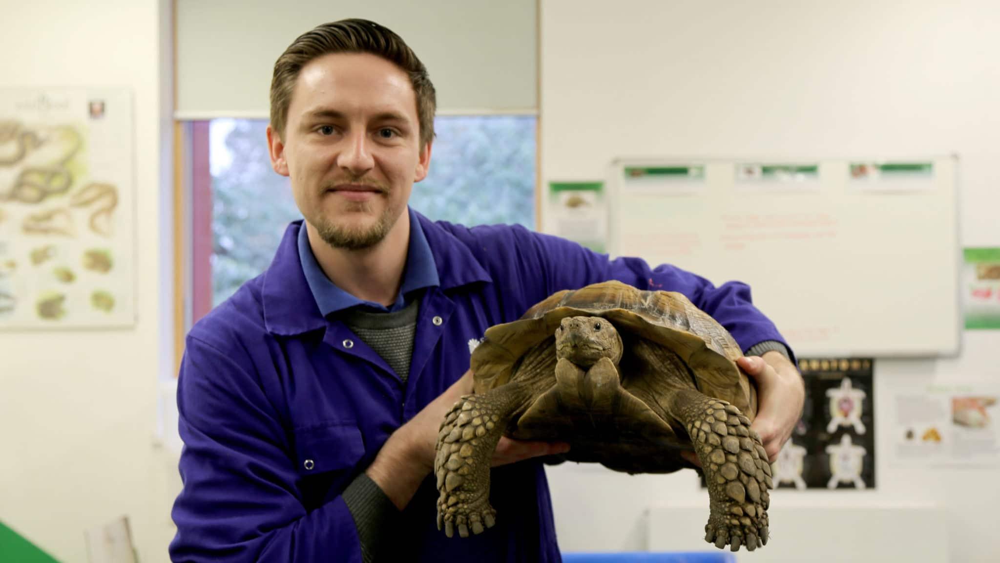 Jamie holds tortoise
