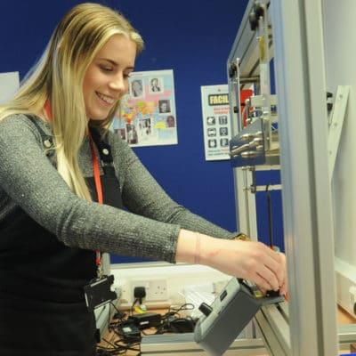 Student configures engineering tool.