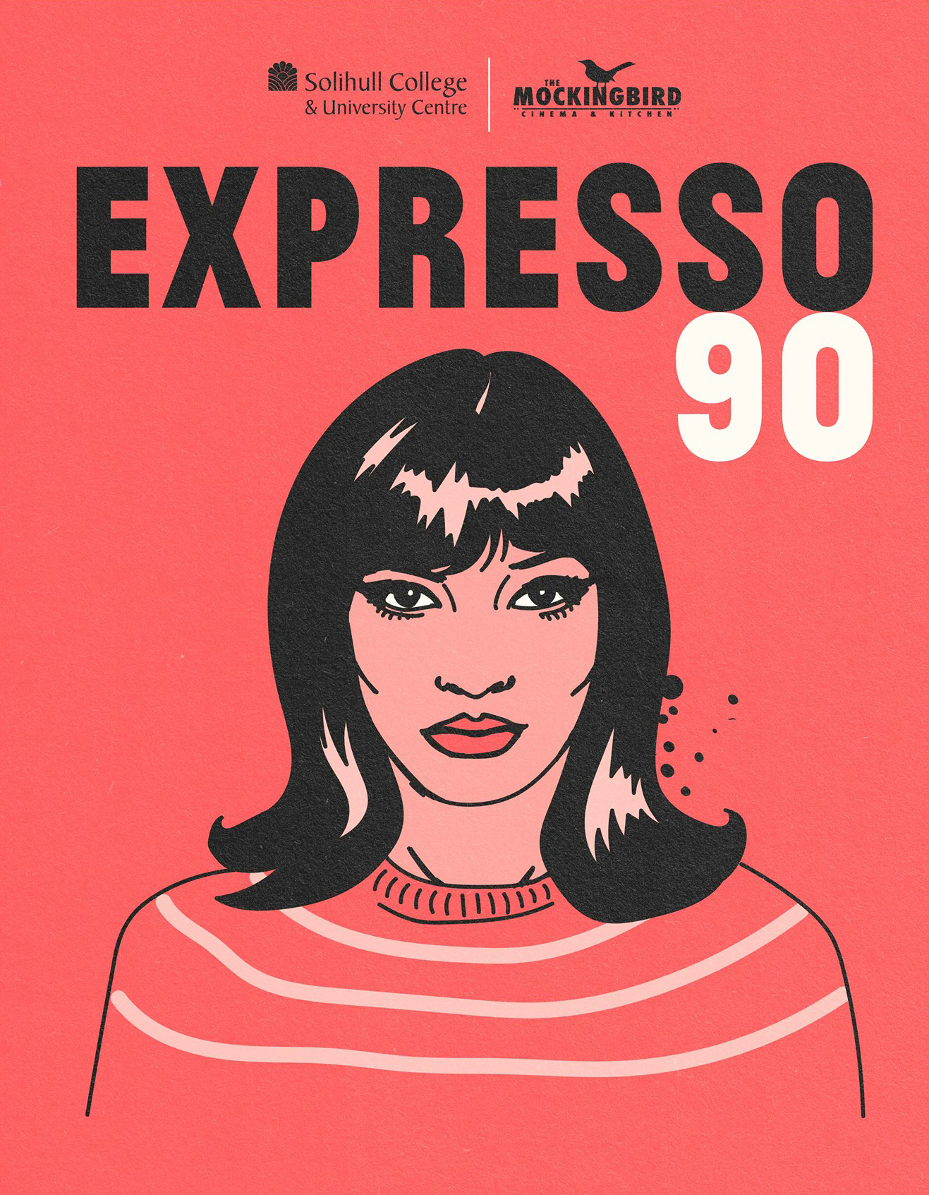 Expresso 90 poster featuring a cartoon woman
