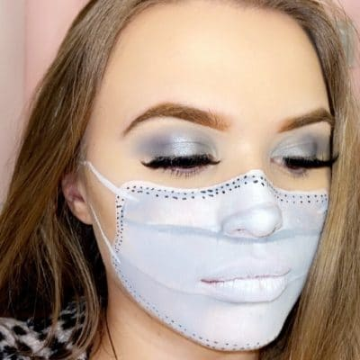 Danielle Hardy with a facemask created out of make up.