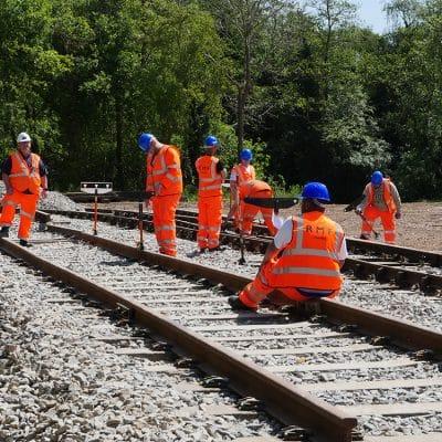 Workmen working on tracks