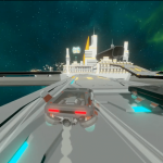 a car drives virtually around space