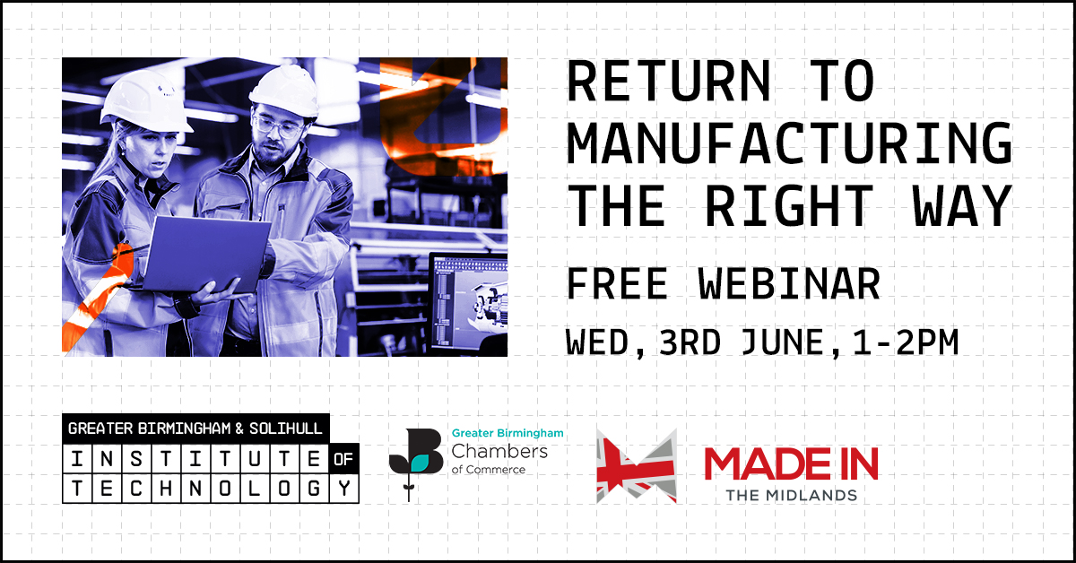 A poster with return to manufacturing the right way and a picture of two men in a factory